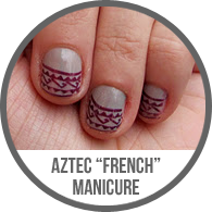 Konad Nail Plates Aztec Tribal French Tips Manicure