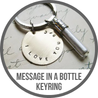 Message in a Bottle Handmade Key Chain Keychain or Necklace Tutorial with Stamped Metal Disc