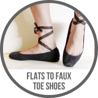 Before and After Ballet Flats to Ribbon Toe Shoes Tutorial